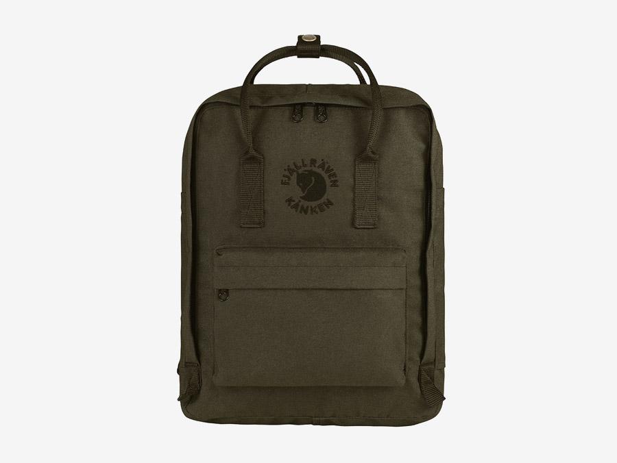 Fjällräven Re-Kånken — batoh — tmavě zelený, army green — recyklovaný — školní batoh — plátěný