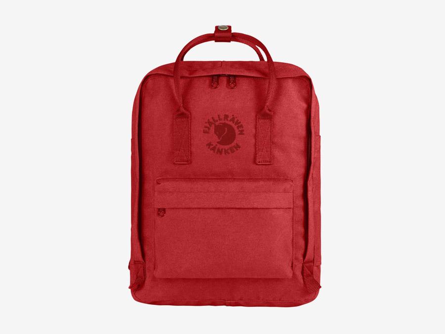 Fjällräven Re-Kånken — batoh — červený — recyklovaný — školní batoh — plátěný