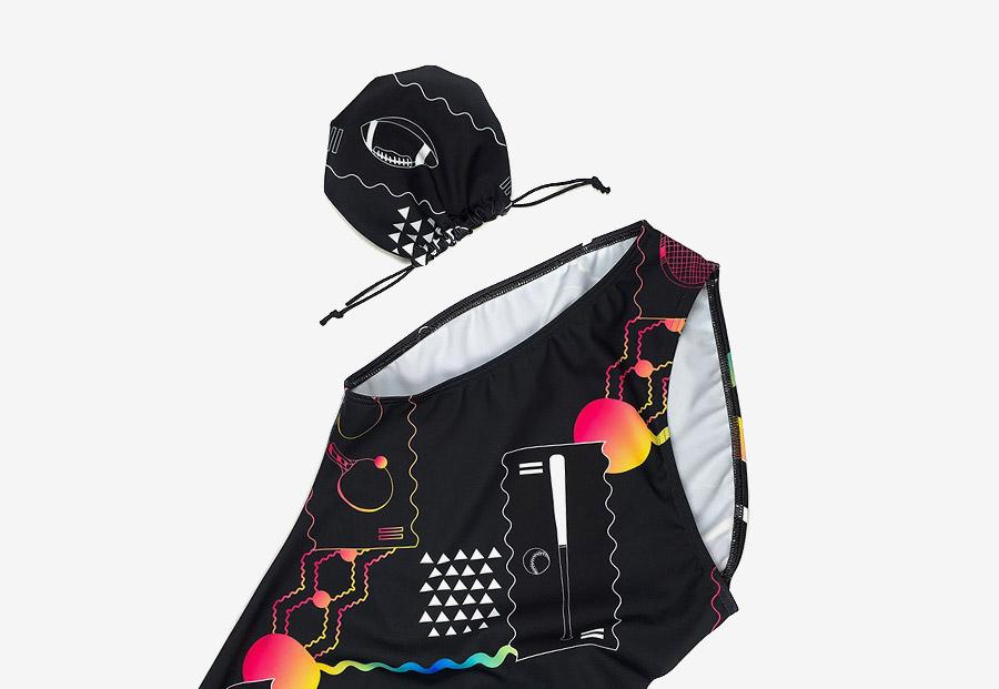 Retart — dámské jednodílné plavky — černé, barevné — swimsuit — s ilustracemi, sportovní motivy — Alica Kucharovič