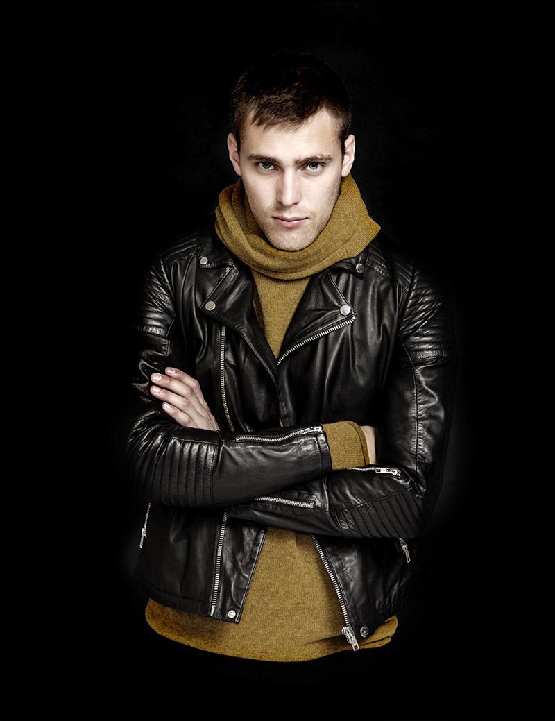 RVLT — Revolution — pánská černá kožená bunda do pasu — podzim/zima 2016