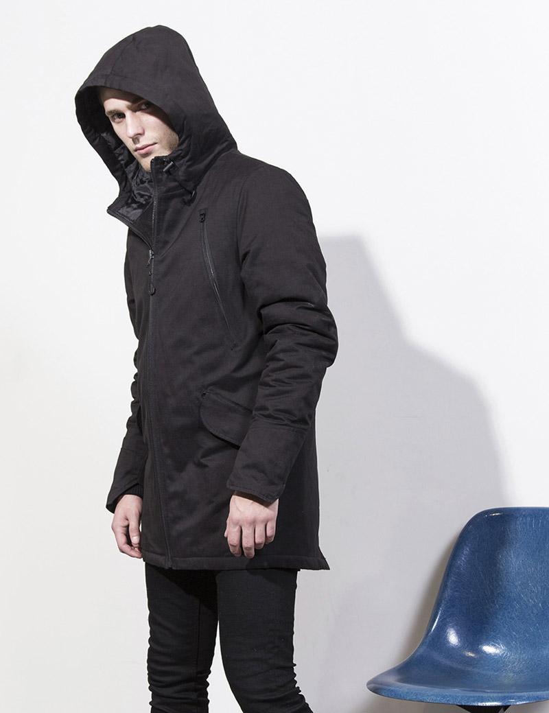 RVLT — Revolution — pánská černá parka s kapucí, zimní bunda — podzim/zima 2016