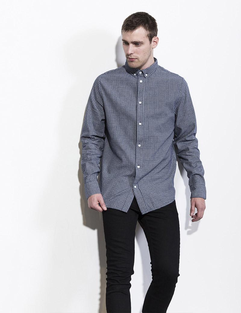 RVLT — Revolution — pánská košile s dlouhým rukávem — károvaná, modrá — podzim/zima 2016