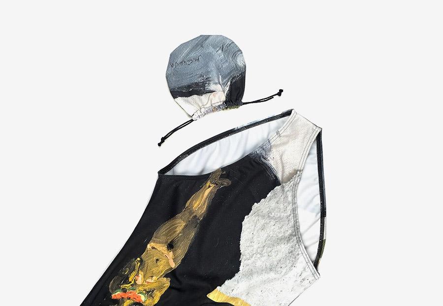 Retart — dámské jednodílné plavky — černé, barevné — swimsuit — s malbou — Katarína Janečková