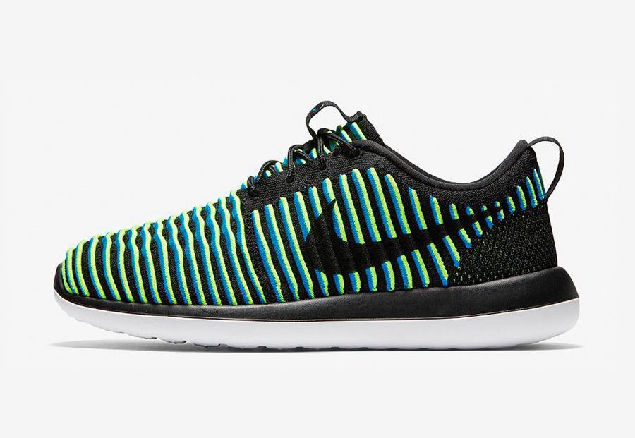 Nike Roshe Two Flyknit — boty — tenisky — sneakers — dámské — černé, zelené, modré — Nike Roshe Run
