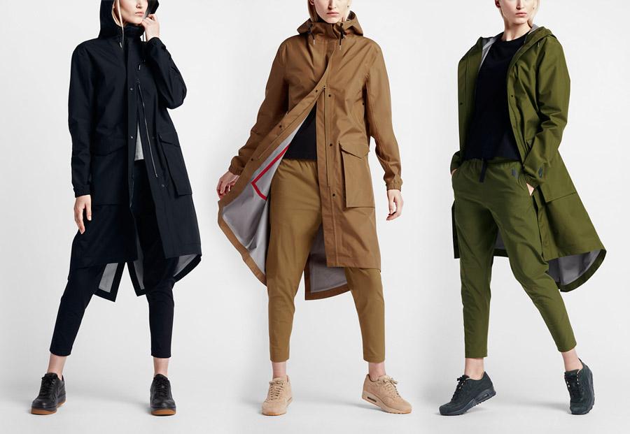 Dámská parka NikeLab Essentials Storm-FIT — dlouhá, podzimní — černá, hnědá, zelená