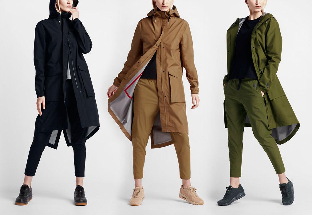 NikeLab Essentials — dámská parka — dlouhá bunda s kapucí — nepromokavá — voděodolná — černá, hnědá, zelená