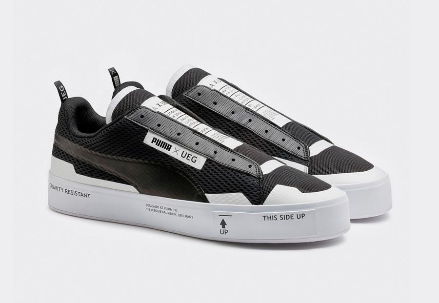 PUMA Court Play SlipOn x UEG — boty — tenisky — sneakers — bez tkaniček — černé, bílé — Gravity Resistance