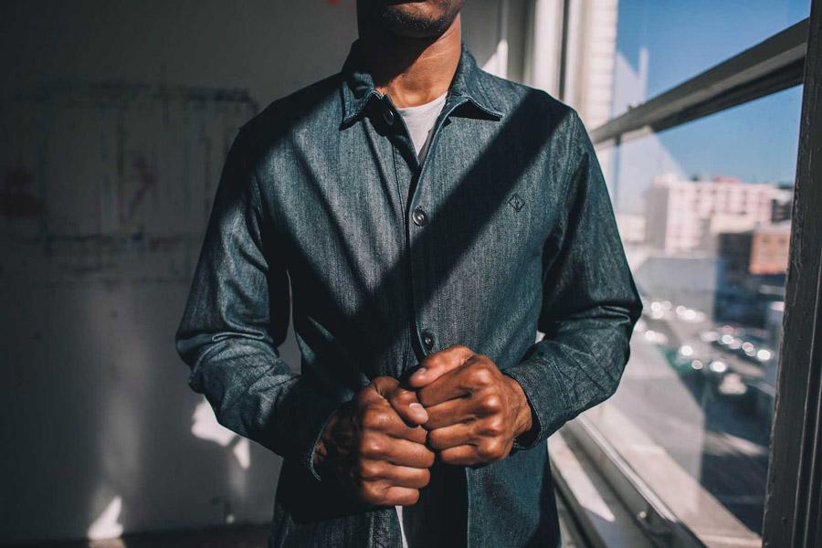FairPlay — pánská bunda s límečkem — modrý denim
