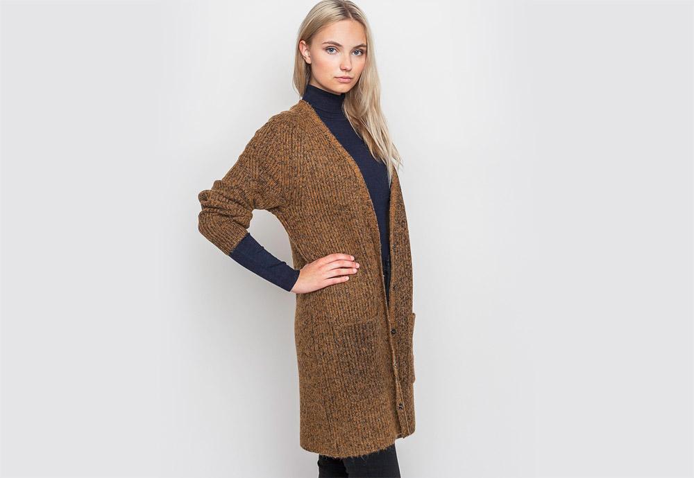 mbyM — dlouhý cardigan — dámský — hnědý, bronzový — svetr s knoflíčky