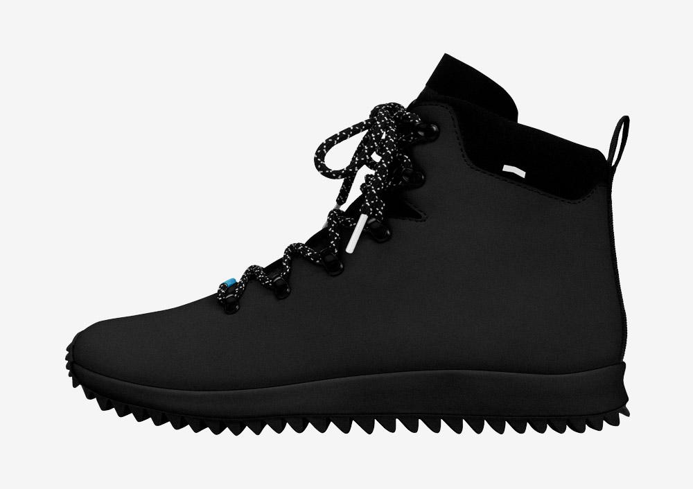 Native Shoes — Apex — zimní boty — dámské — pánské — černé — nepromokavé, voděodolné — veganské