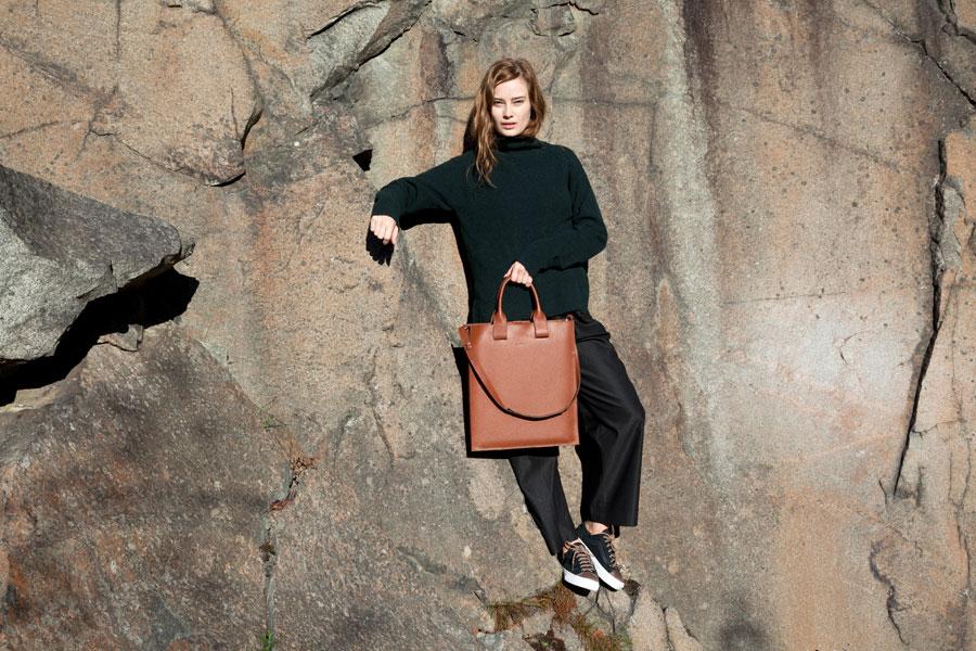Sandqvist — stylové batohy a tašky — lookbook podzim/zima 2016 — hnědá kožená taška, kabelka, dámská