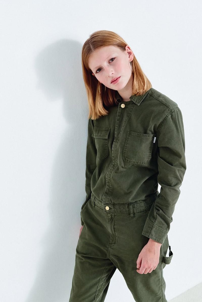 Carhartt WIP — dámský overal — zelený — jeans, džínový, riflový