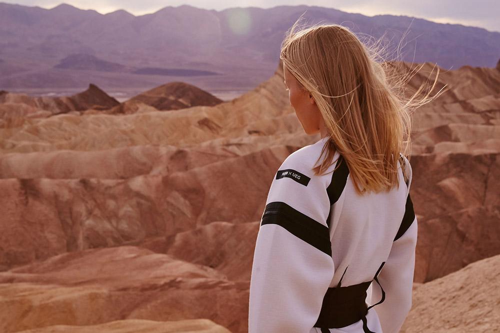 PUMA x UEG — Gravity Resistance — dámské futuristické šaty — bílé — lookbook
