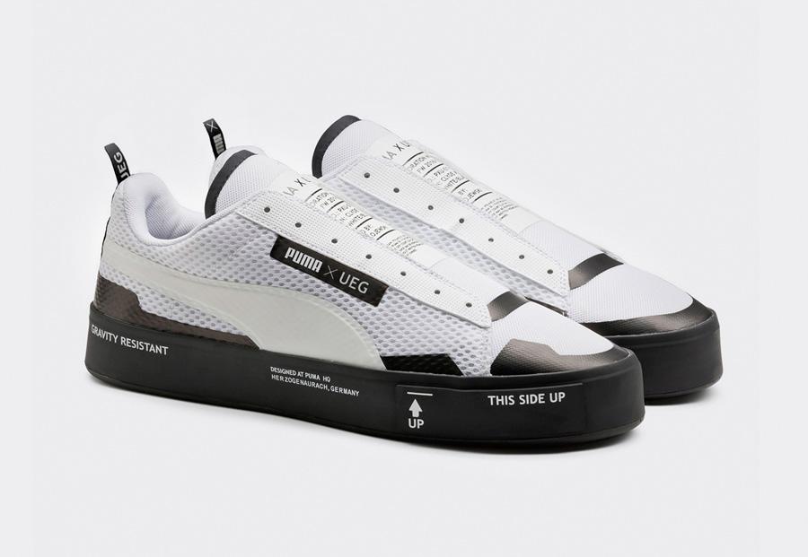 PUMA Court Play SlipOn x UEG — tenisky — boty — sneakers — bez tkaniček — bílé, černé — Gravity Resistance