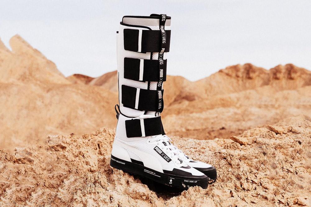 PUMA x UEG — Gravity Resistance — futuristické vysoké tenisky, kozačky — černo-bílé — lookbook