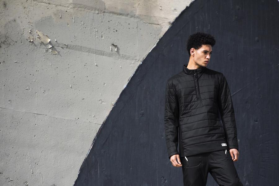 adidas Originals — Regista — pánská prošívaná bunda přes hlavu se stojáčkem — černá — sportovní oblečení