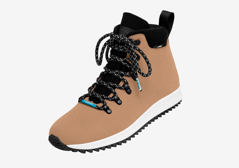 Native Shoes — Apex — zimní boty — dámské — pánské — béžové, hnědé — nepromokavé, voděodolné — veganské