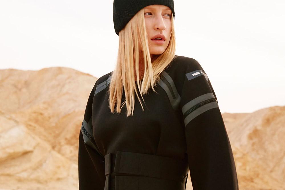 PUMA x UEG — Gravity Resistance — dámské futuristické šaty — černé — lookbook