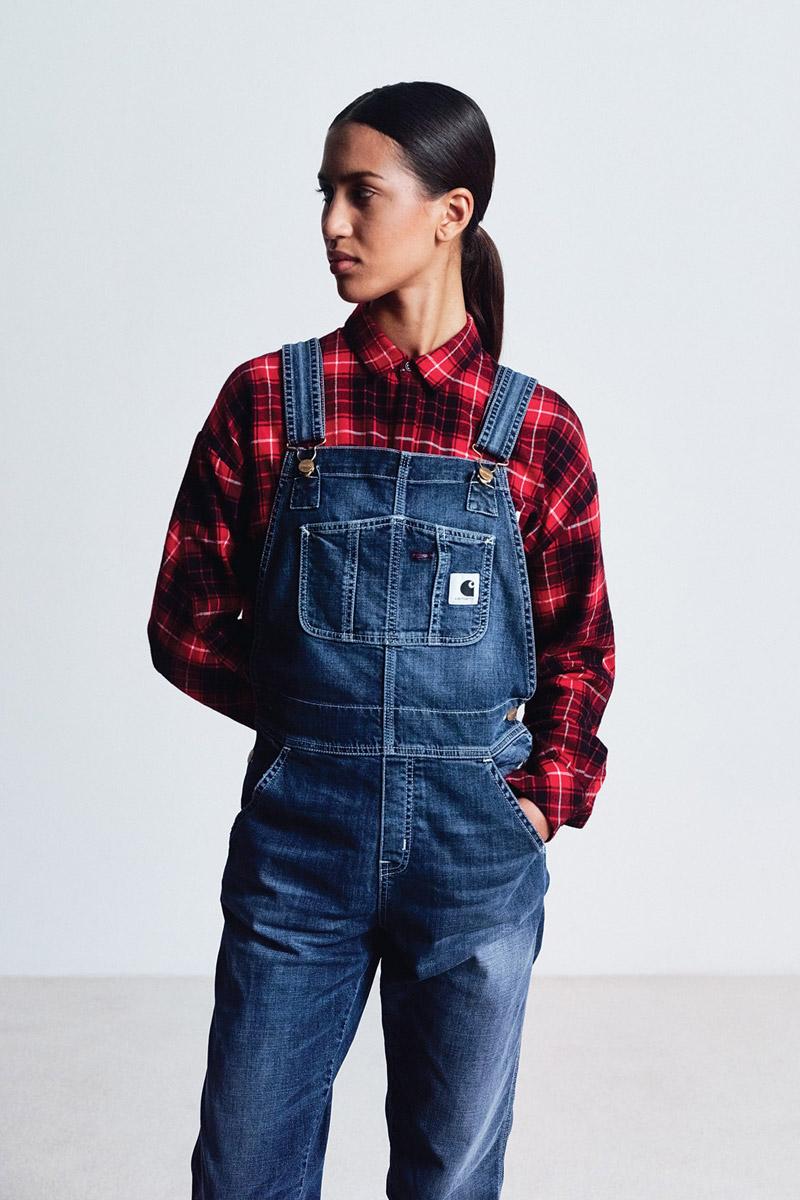 Carhartt WIP — dámské lacláče — overal — kostkovaná flanelová košile