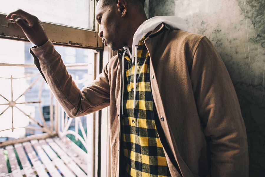 FairPlay — pánská béžová bunda se stojáčkem — kostkovaná flanelová košile, černo-žlutá