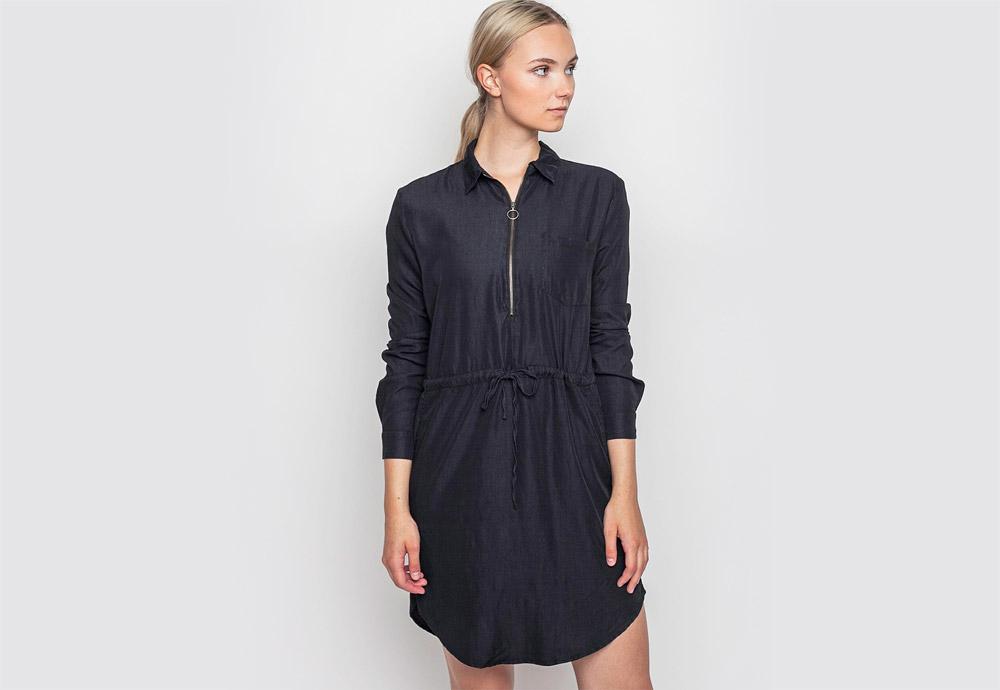 mbyM — černé šaty s límečkem a šňůrkou v pase