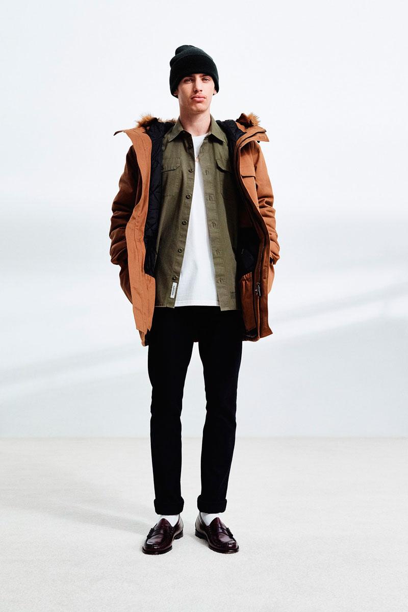 Carhartt WIP — zelená pánská košile — hnědá zimní bunda s kapucí, pánská — černé slimfit kalhoty, pánské