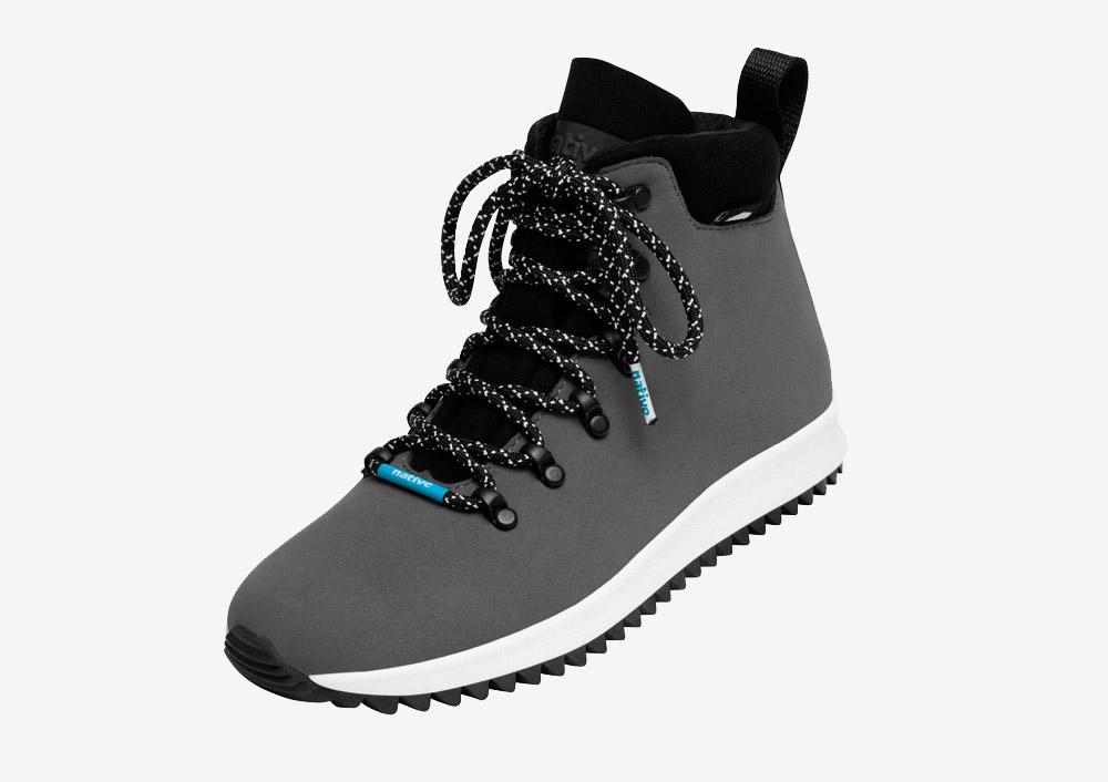 Native Shoes — Apex — zimní boty — dámské — pánské — šedé — nepromokavé, voděodolné — veganské