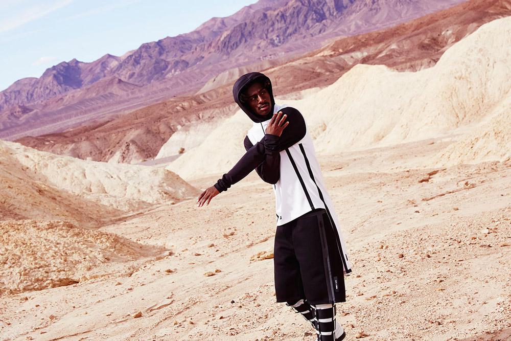 PUMA x UEG — Gravity Resistance — pánská mikina s kapucí, černo-bílá — černé šortky — futuristické