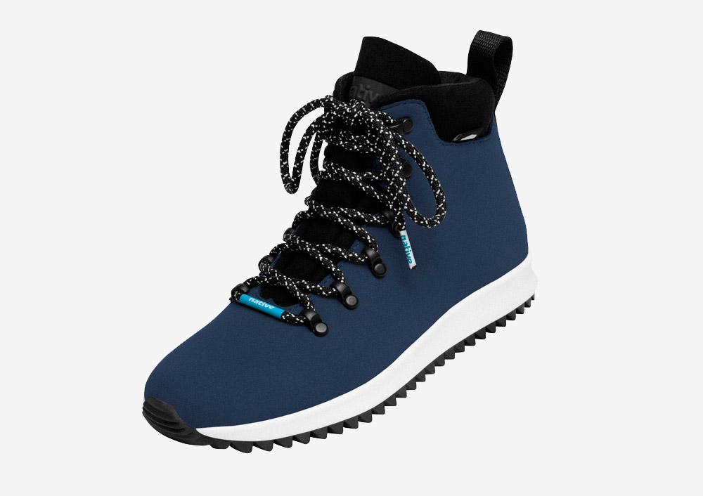 Native Shoes — Apex — zimní boty — dámské — pánské — tmavě modré — nepromokavé, voděodolné — veganské