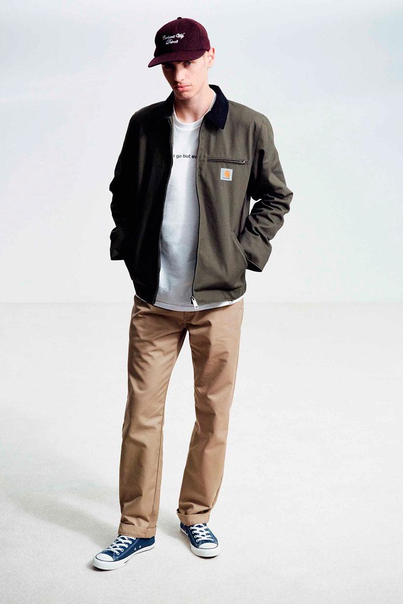 Carhartt WIP — šedo-zelená pánská bunda — béžové kalhoty, hnědé, pánské