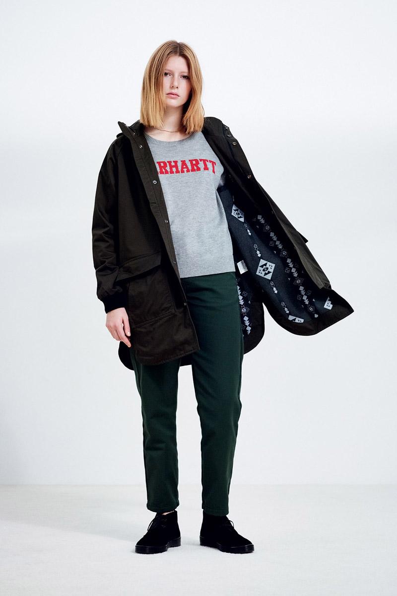 Carhartt WIP — černá parka s kapucí, dámská — šedá mikina — zelené kalhoty