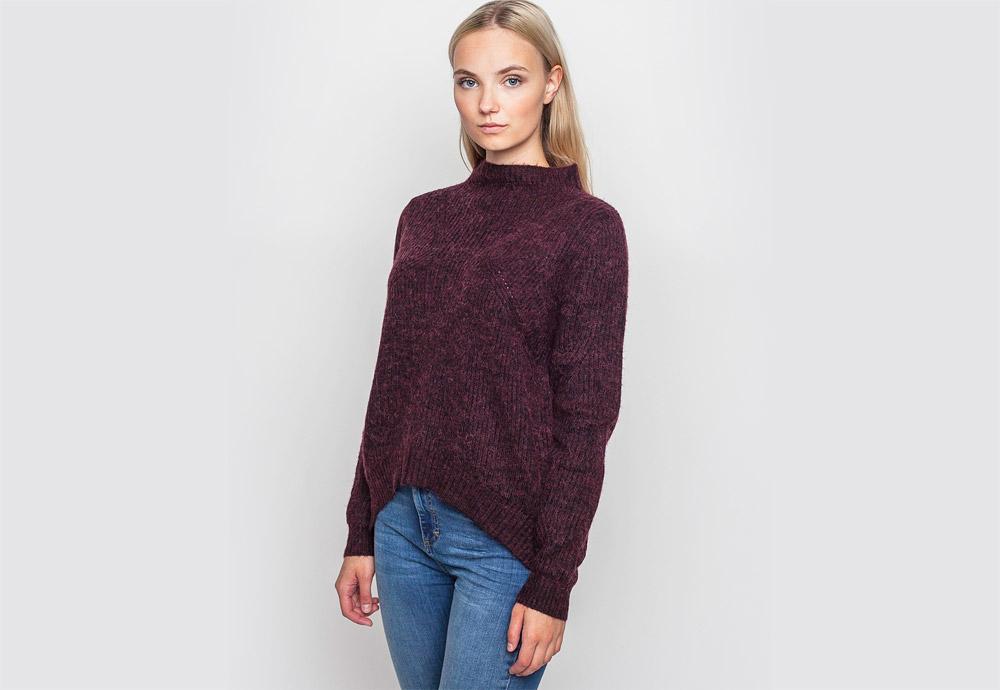 mbyM — vínový svetr s nízkým stojáčkem — dámský — atypický střih