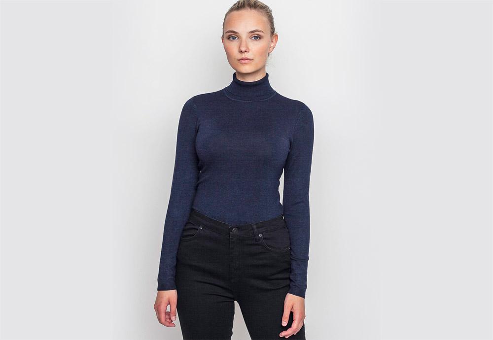 mbyM — dámský rolák — uplý, dlouhý — modrý