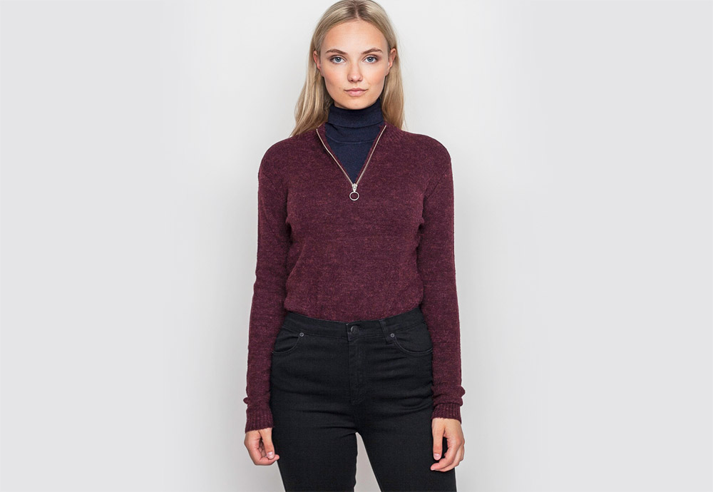 mbyM — dámský svetr s nízkým stojáčkem a zipem — vínový