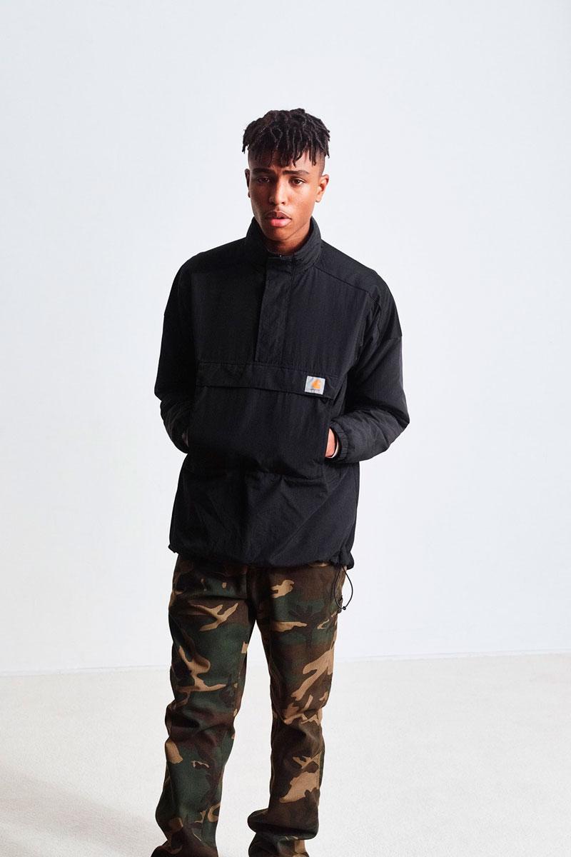 Carhartt WIP — pánská černá zimní bunda se stojáčkem — pánské maskáčové kalhoty