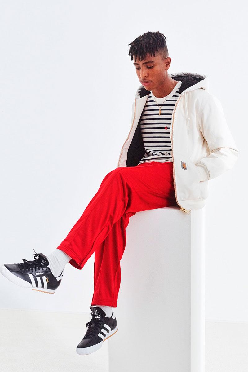 Carhartt WIP — pánské červené tepláky — bílá podzimní bunda s kapucí