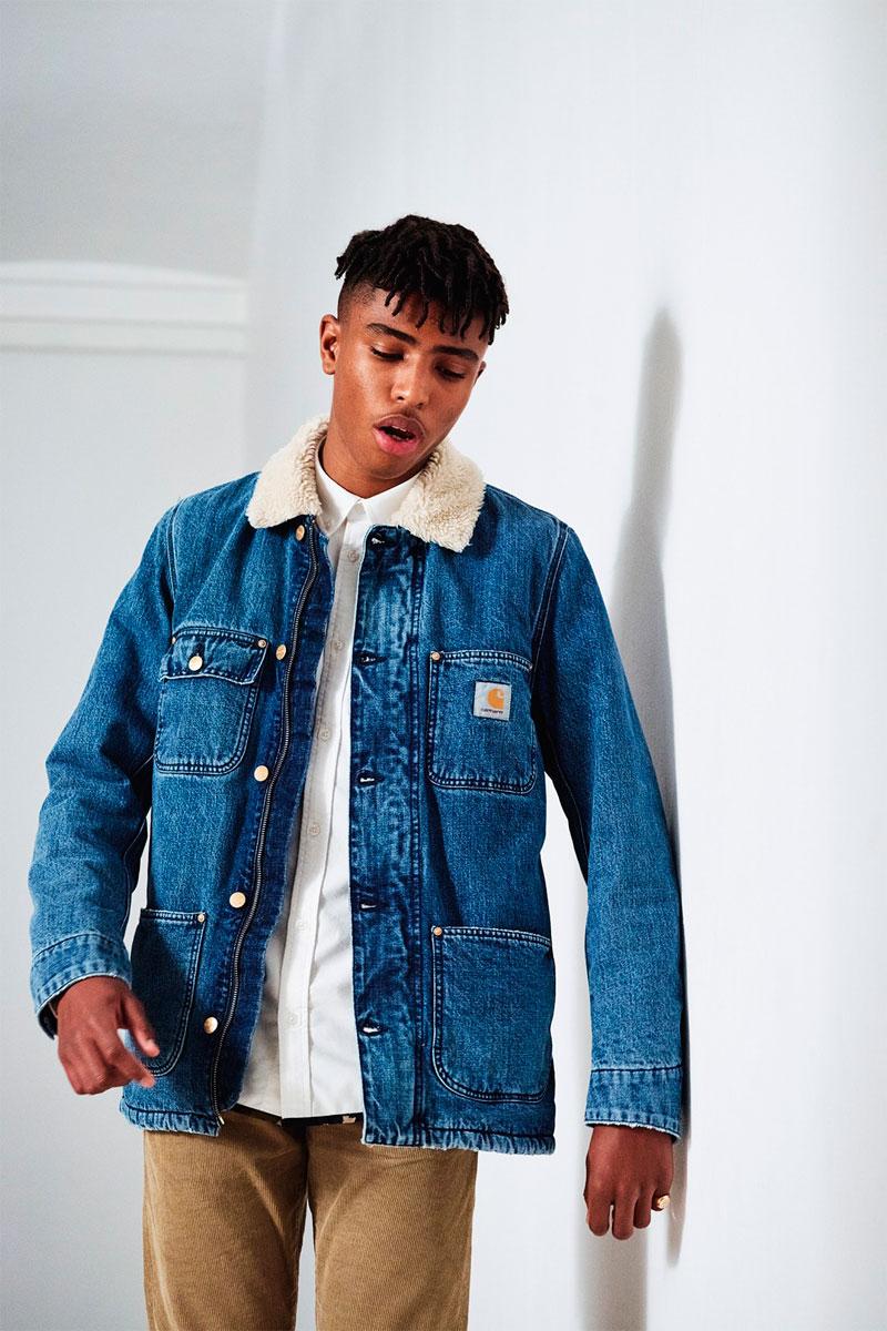 Carhartt WIP — zimní jeansová bunda s kožíškem — pánská