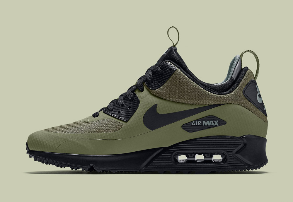 Nike Air Max 90 Mid Winter — pánské — zimní boty — tenisky — kotníkové sneakers — zelené, černé, tmavě modré — Airmaxy