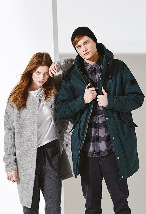 Bench — dámský šedý cardigan (kardigan), svetr s knoflíčky — pánská zimní bunda s kapucí, zelená, parka — podzim/zima 2016