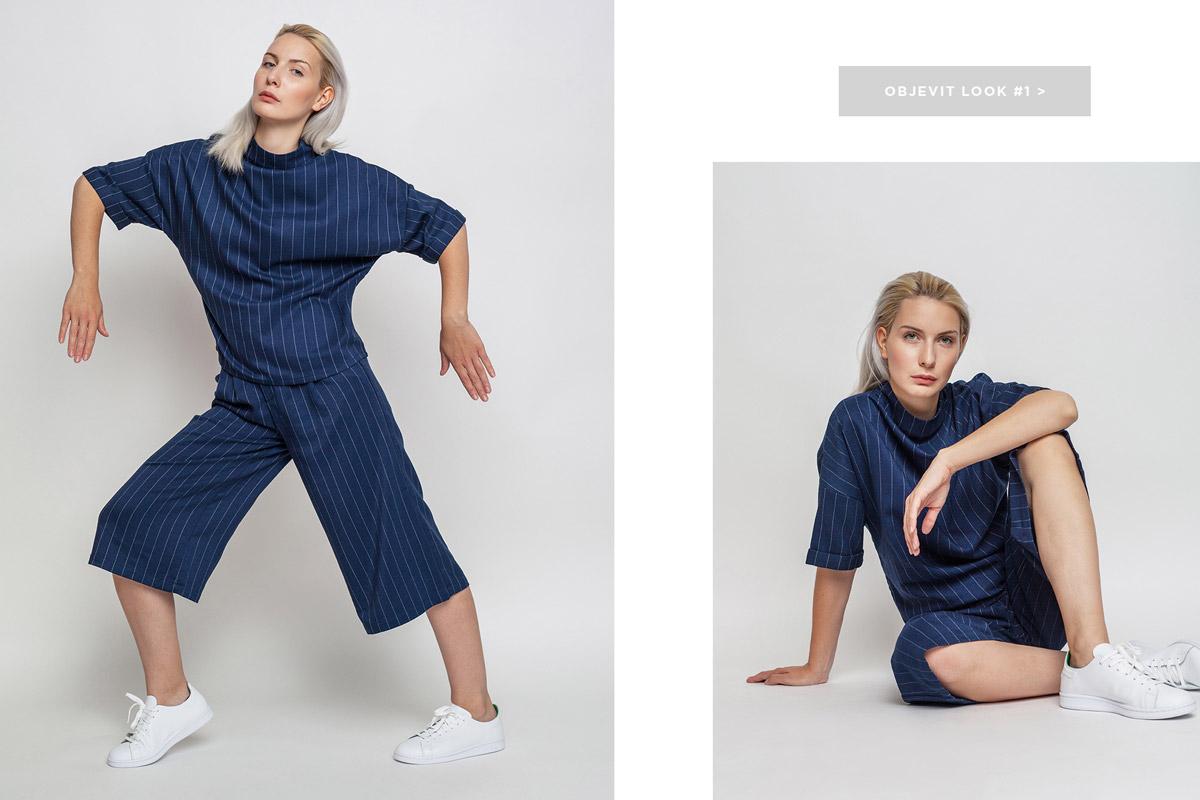 Freshlabels — lookbook — podzim/zima 2016 — dámský modrý rolák s proužky mbyM, modré cullotes kalhoty s proužky — adidas Originals Stan Smith — bílé tenisky, dámské