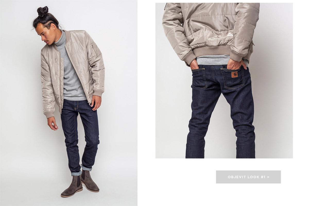 Freshlabels — lookbook — podzim/zima 2016 — šedo-hnědý khaki pánský bomber Wesc — pánské modré džíny Carhartt WIP, kalhoty — pánská perka Makia, chelsea boots