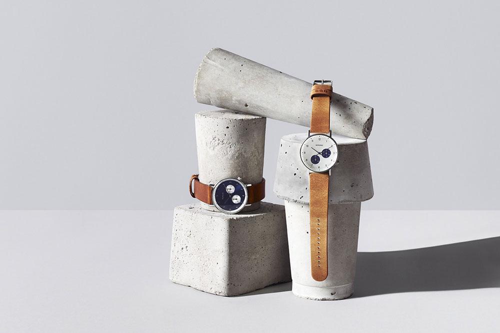 Komono Walther — hodinky — náramkové — ocelové pouzdro, kožený řemínek — pánské, dámské