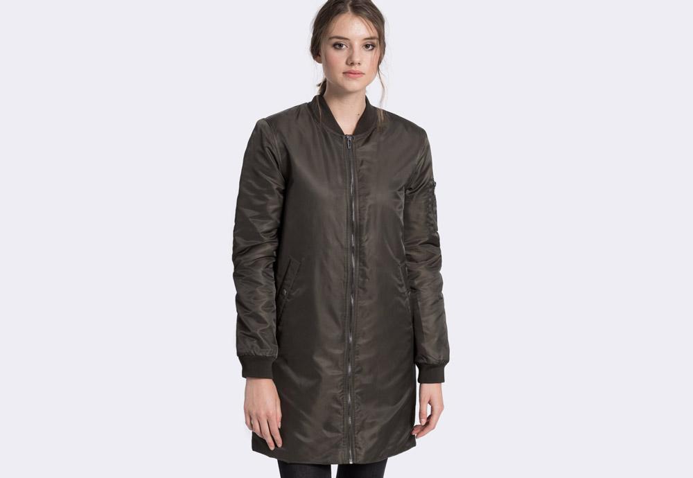 Medicine — dámský bomber, dlouhý — tmavě zelený (army green) — zateplený — bomber jacket — dámská dlouhá bunda