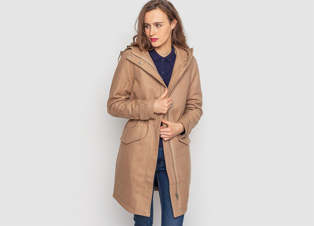 Wemoto — dámský kabát — zimní, vlněný — béžový — hnědý — zimní bunda s kapucí — Sania