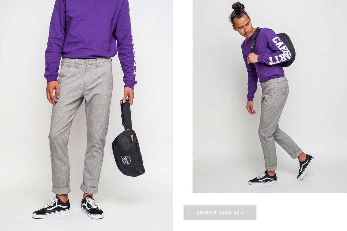 Freshlabels — lookbook — podzim/zima 2016 — pánská fialová mikina Carhartt WIP — pánské šedé kalhoty Lee, slim fit — tenisky Vans Old Skool