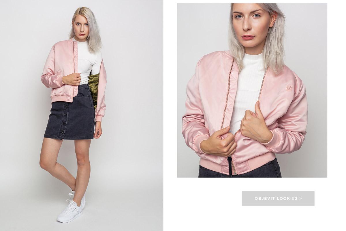 Freshlabels — lookbook — podzim/zima 2016 — růžový dámský bomber Stussy — džínová sukně Stussy — Reebok Classic Leather bílé tenisky, boty