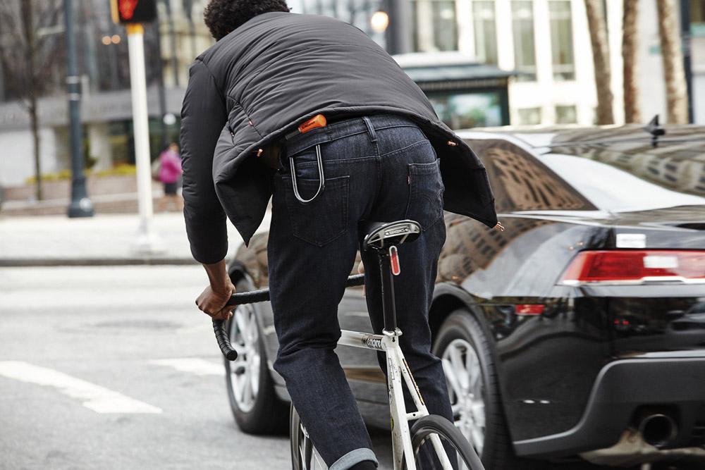 Levi's Commuter — pánská šedá bunda — džínové kalhoty, modré, džíny, jeansy — cyklistické oblečení do města — podzim 2016