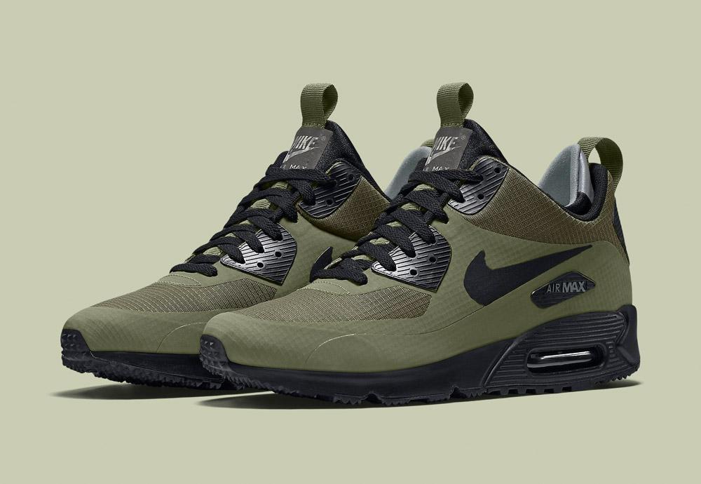 Nike Air Max 90 Mid Winter — zimní boty — pánské — tenisky — kotníkové sneakers — zelené (army green) — Airmaxy