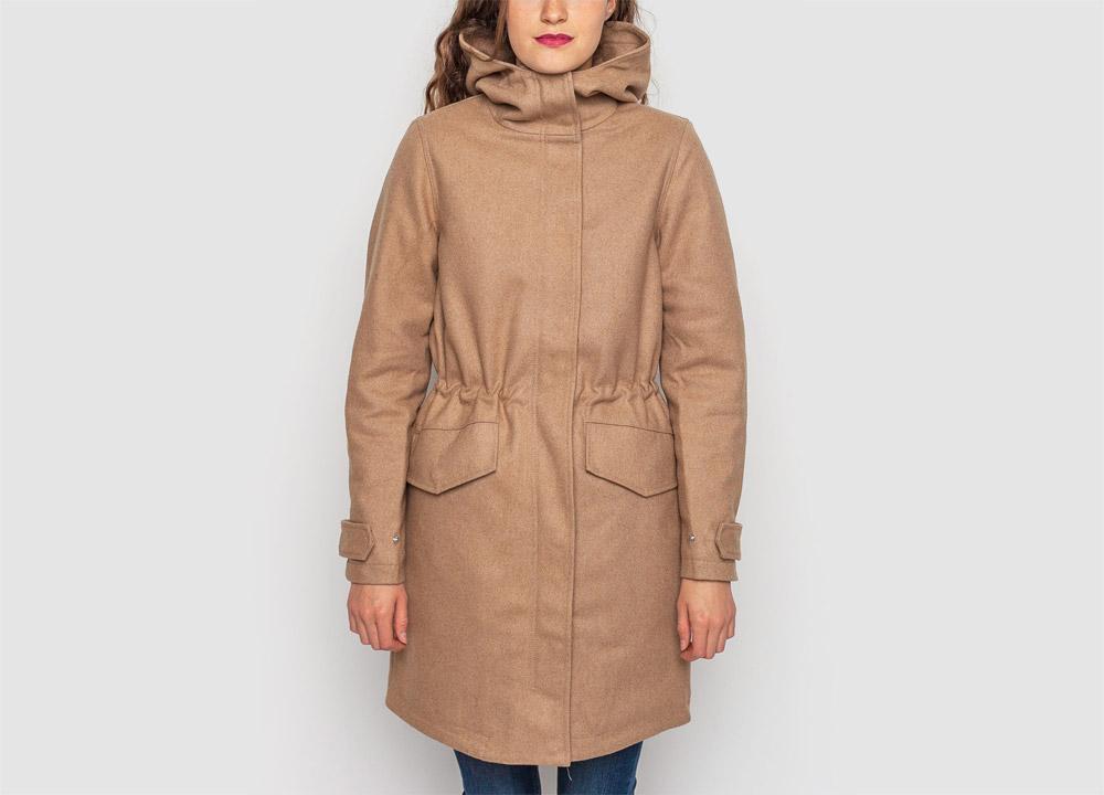 Wemoto — dámská zimní bunda s kapucí, parka — vlněná — béžová — hnědá — dámský zimní kabát — Sania