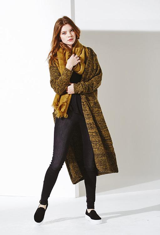Bench — dámský melírový cardigan (kardigan) — dlouhý svetr se vzorem, žluto-černý — podzim/zima 2016